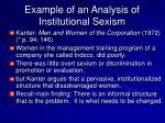 example of an analysis of institutional sexism
