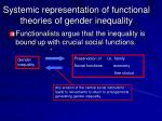systemic representation of functional theories of gender inequality