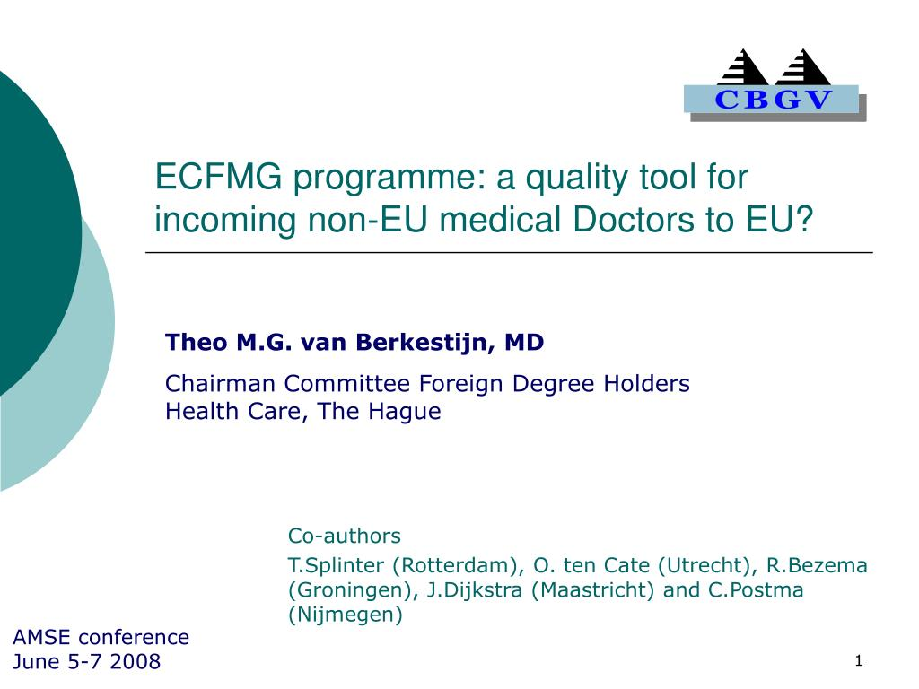 ecfmg programme a quality tool for incoming non eu medical doctors to eu l.