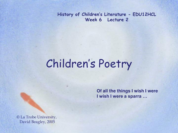 History of children s literature edu12hcl week 6 lecture 2
