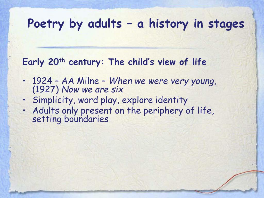 Poetry by adults – a history in stages