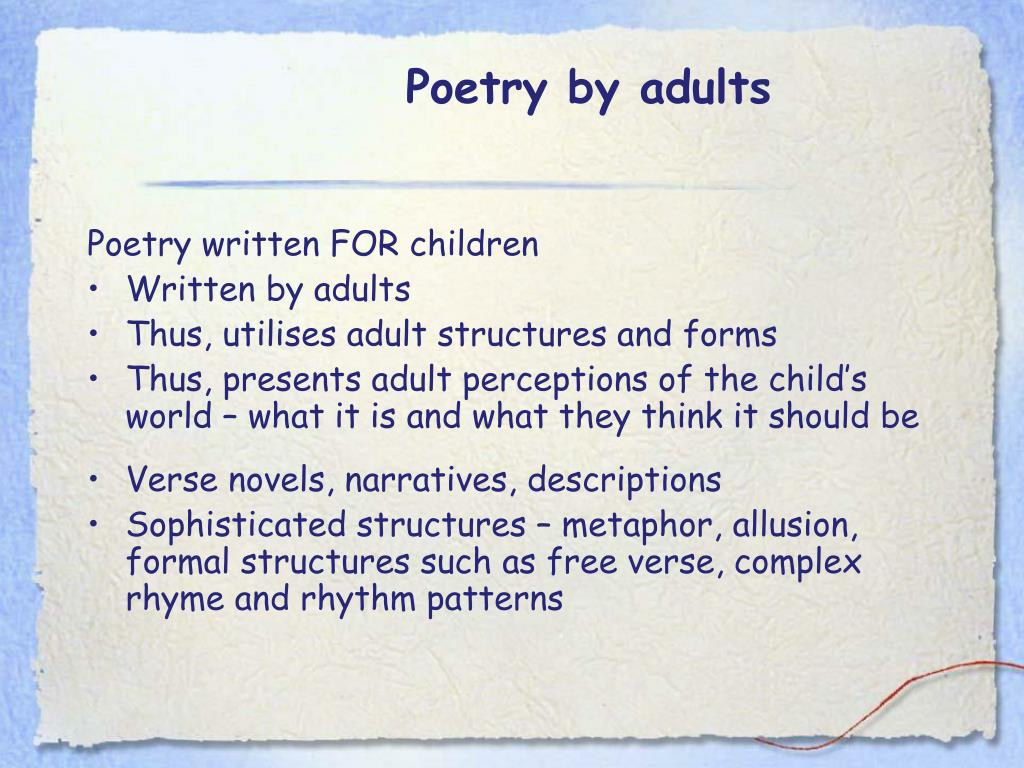 Poetry by adults