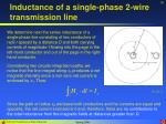 inductance of a single phase 2 wire transmission line