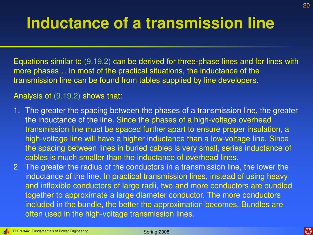 Inductance of a transmission line