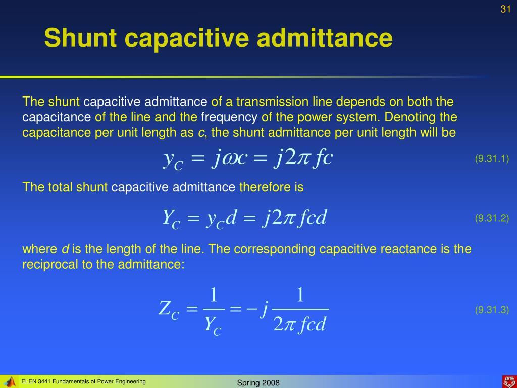 Shunt capacitive admittance