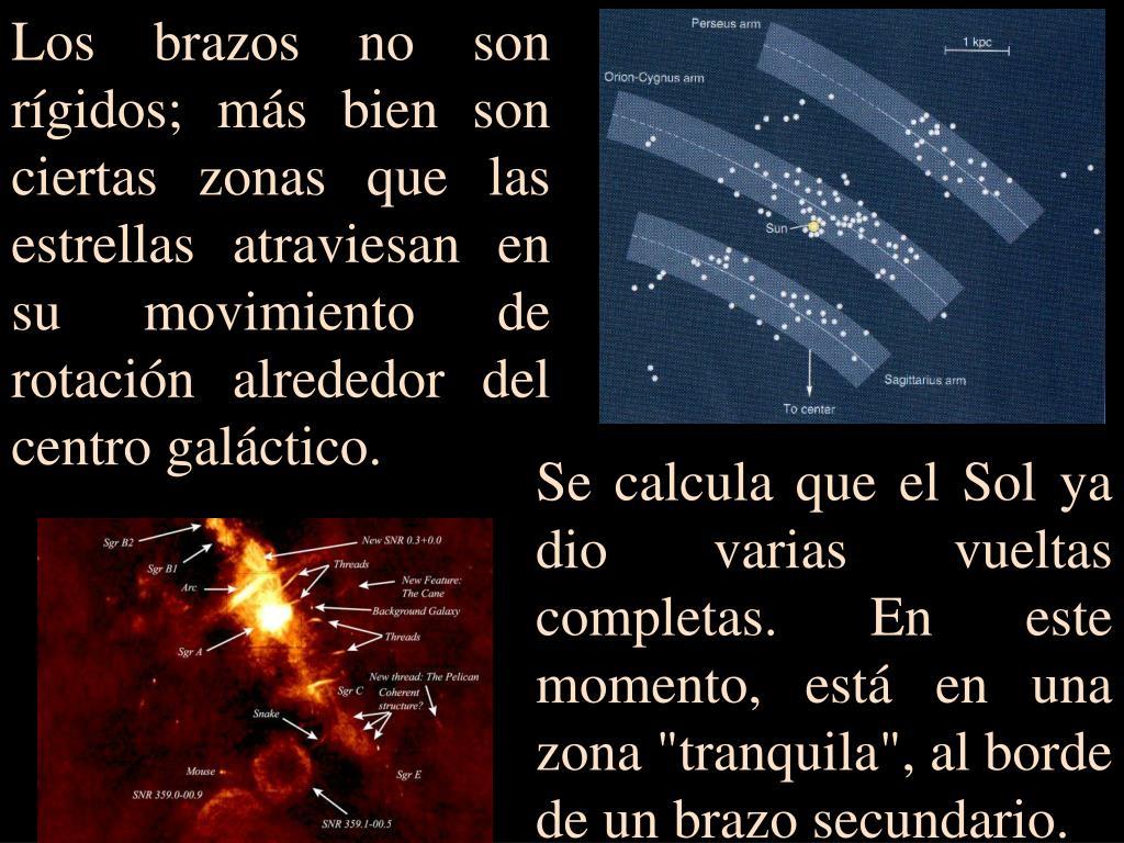 Los brazos no son rígidos; más bien son ciertas zonas que las estrellas atraviesan en su movimiento de rotación alrededor del centro galáctico.