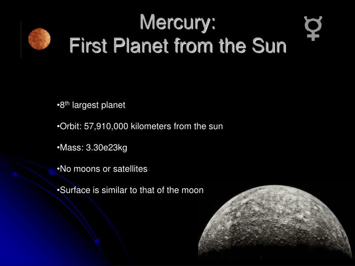 Mercury first planet from the sun