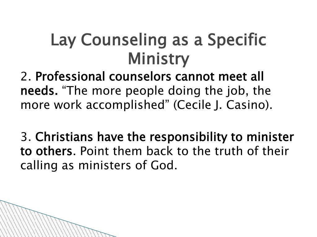 Lay Counseling as a Specific Ministry
