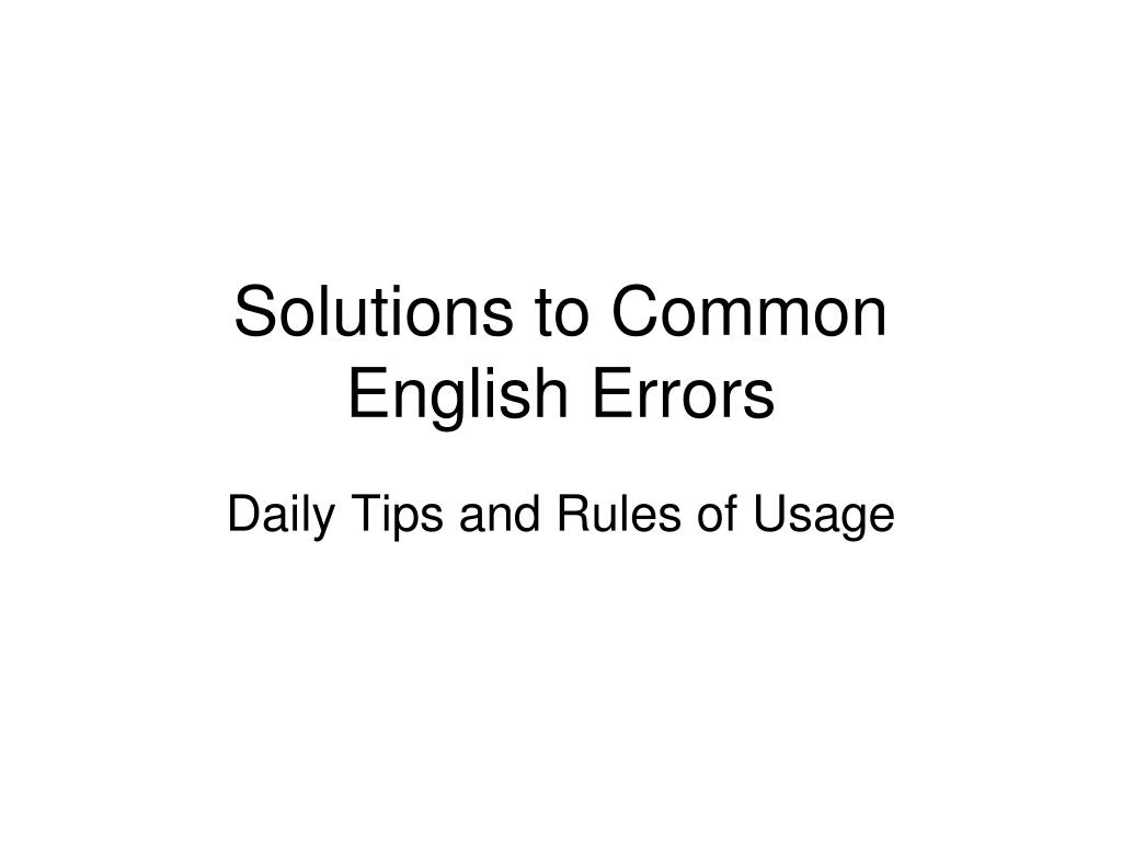 solutions to common english errors l.