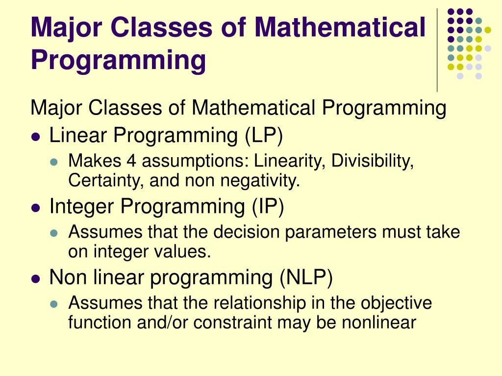 Major Classes of Mathematical Programming