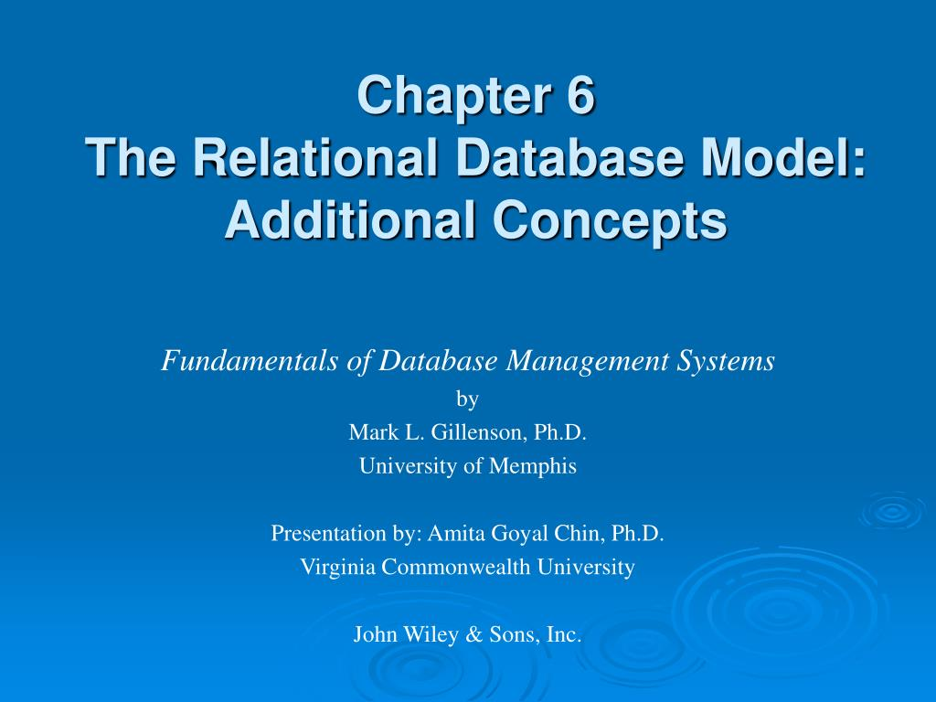 chapter 6 the relational database model additional concepts l.