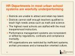 hr departments in most urban school systems are woefully underperforming