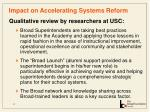 impact on accelerating systems reform