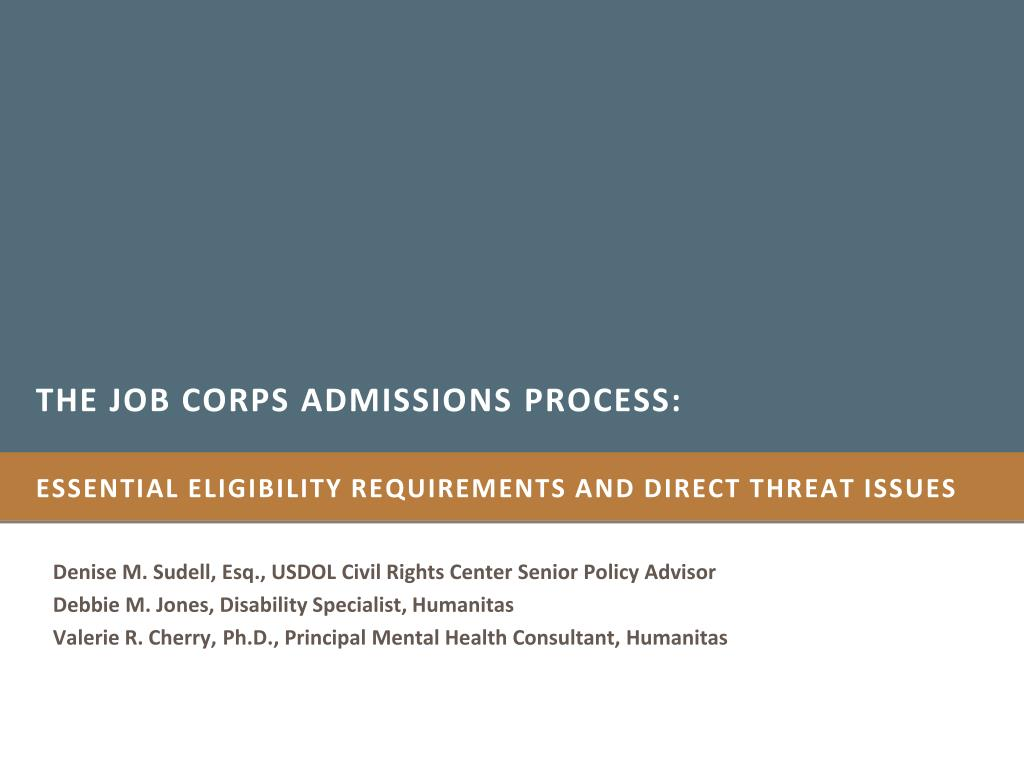 the job corps admissions process l.