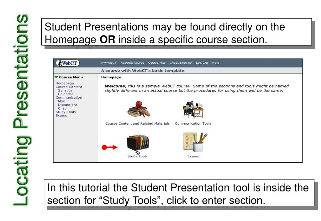 Student Presentations may be found directly on the Homepage