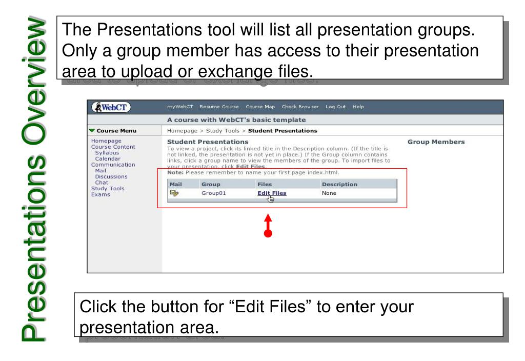 The Presentations tool will list all presentation groups. Only a group member has access to their presentation area to upload or exchange files.
