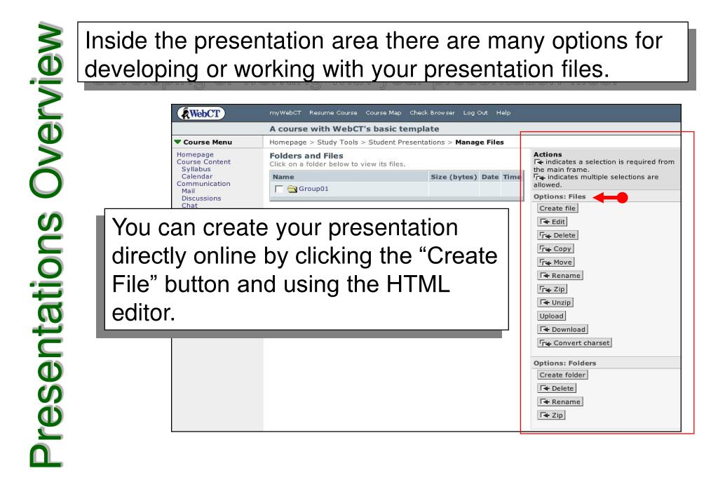 Inside the presentation area there are many options for developing or working with your presentation files.