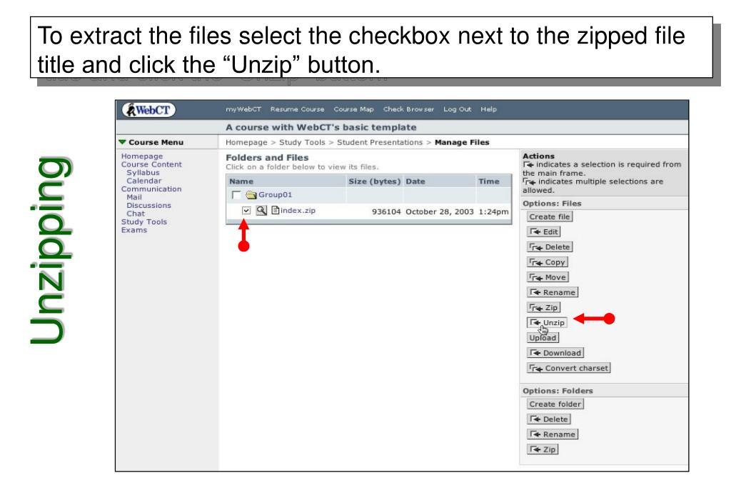 """To extract the files select the checkbox next to the zipped file title and click the """"Unzip"""" button."""