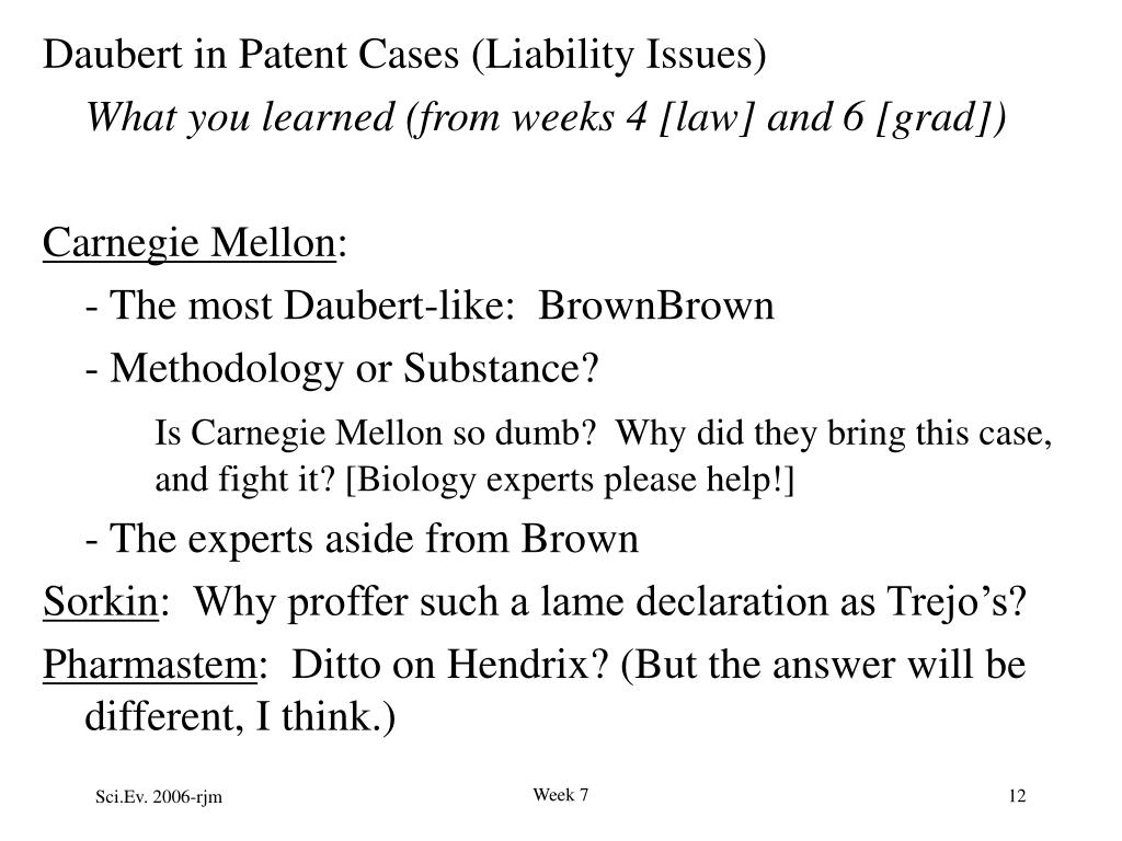 Daubert in Patent Cases (Liability Issues)
