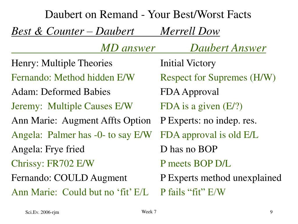 Daubert on Remand - Your Best/Worst Facts