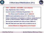 a word about mobilizations ia s