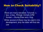 how to check suitability