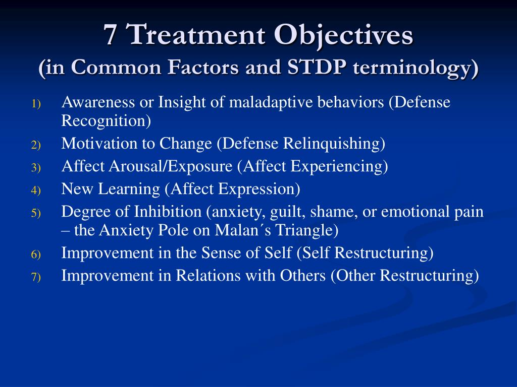 7 Treatment Objectives