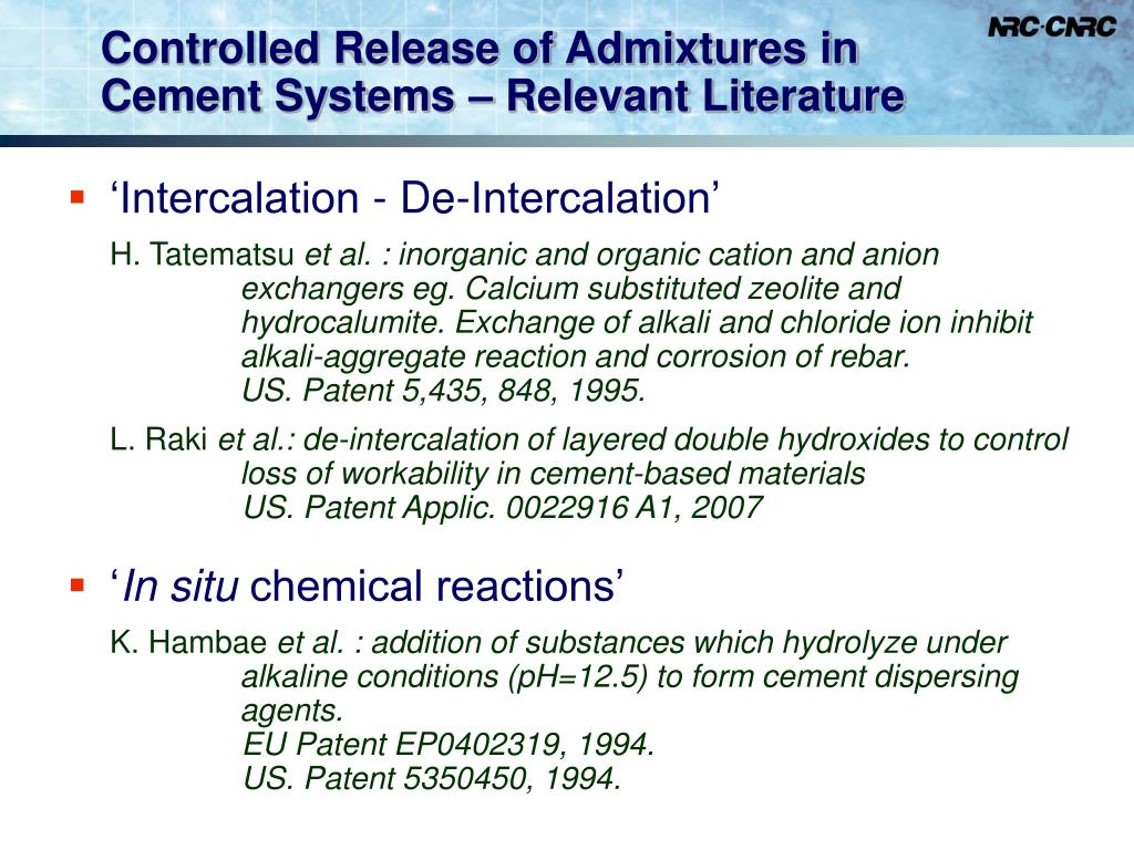 Controlled Release of Admixtures in Cement Systems – Relevant Literature