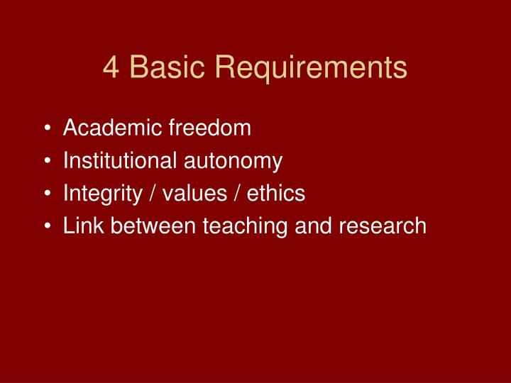 4 Basic Requirements