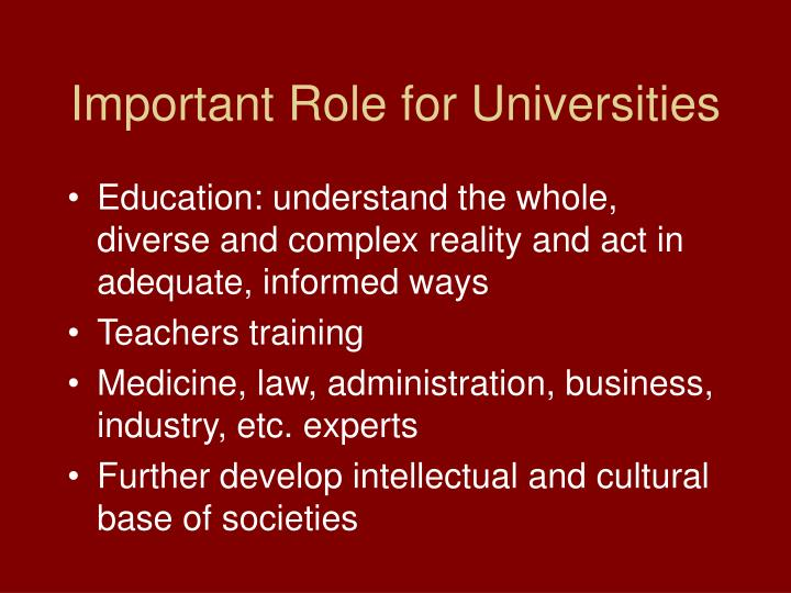 Important Role for Universities
