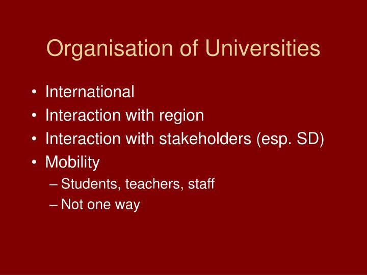 Organisation of Universities