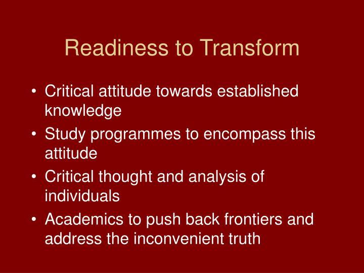 Readiness to Transform