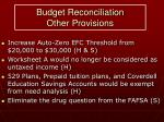 budget reconciliation other provisions