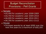 budget reconciliation provisions pell grants