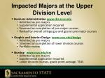 impacted majors at the upper division level