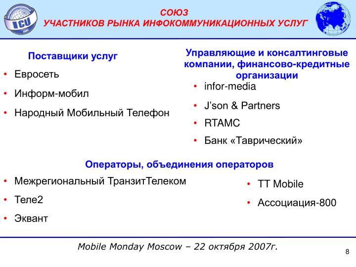 Управляющие и консалтинговые компании, финансово-кредитные организации
