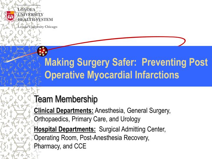 Making surgery safer preventing post operative myocardial infarctions