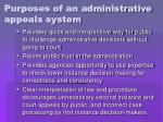 purposes of an administrative appeals system