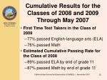 cumulative results for the classes of 2008 and 2009 through may 2007