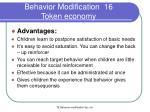behavior modification 16 token economy