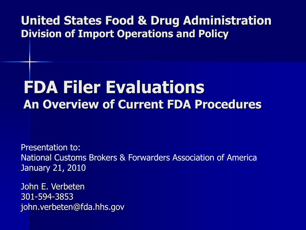 united states food drug administration division of import operations and policy l.