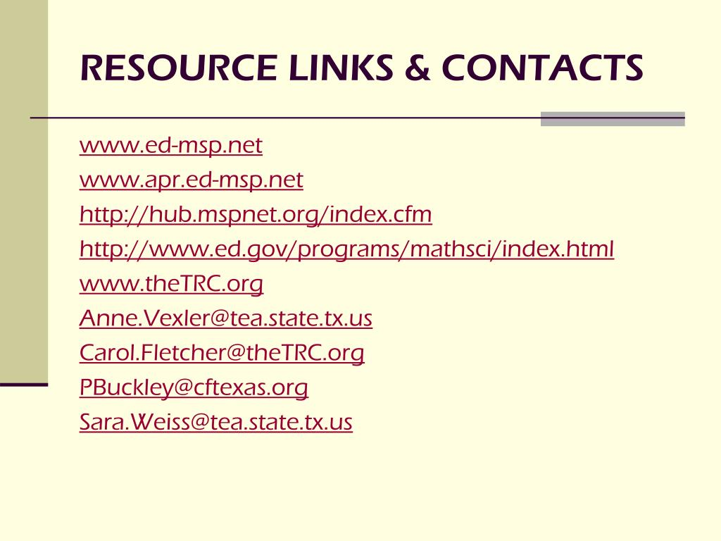 RESOURCE LINKS & CONTACTS