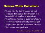 malware writer motivations