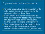 a pre requisite risk measurement