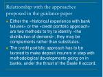 relationship with the approaches proposed in the guidance paper