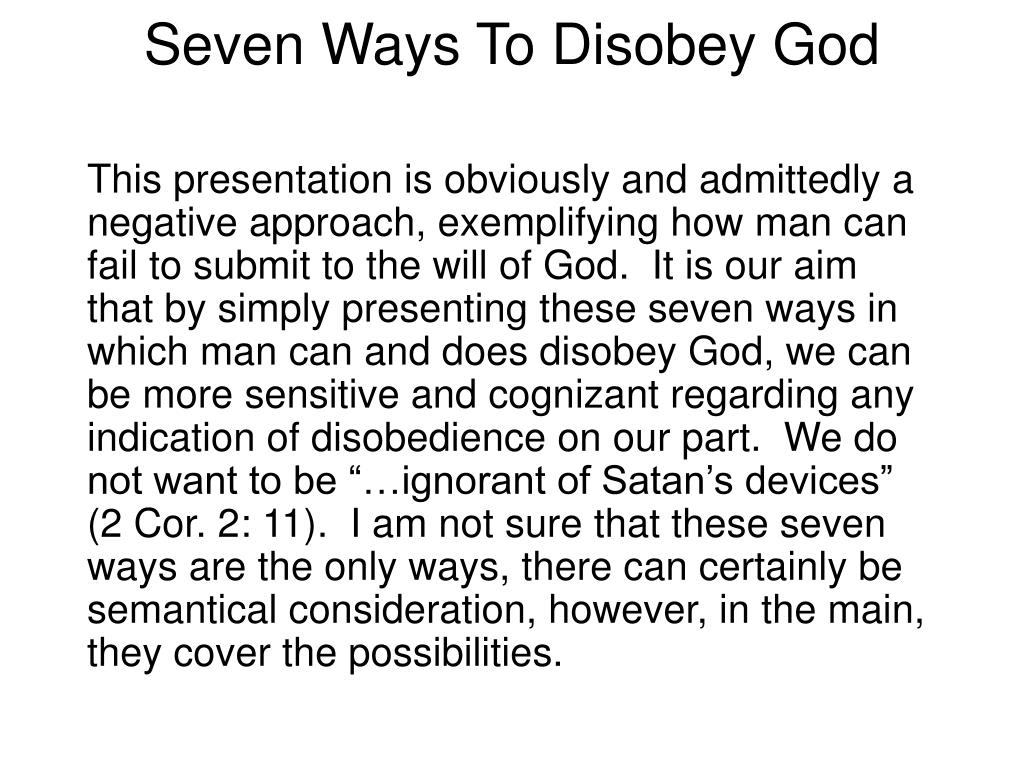 seven ways to disobey god l.