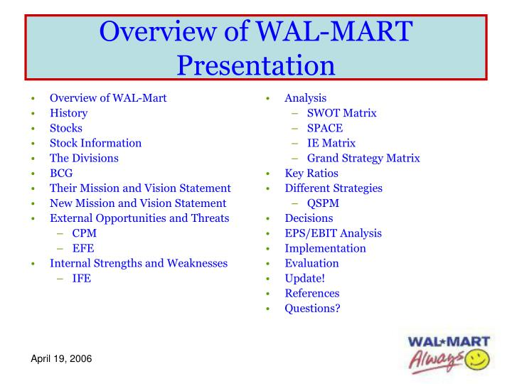 Overview of wal mart presentation