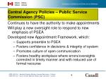central agency policies public service commission psc