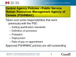 central agency policies public service human resources management agency of canada pshrmac