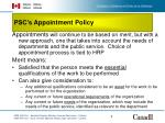 psc s appointment policy